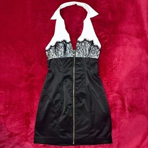 GUESS Black Lace Collared Minidress